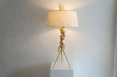 Twisted brass wire tripod table lamp // Mary Brogger // Dana John