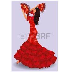 Danseuse flamenco fille espagnole avec deux fans de danse - Dessin danseuse de flamenco ...