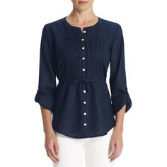 Linen blouse with pleated front, tieback and roll sleeves