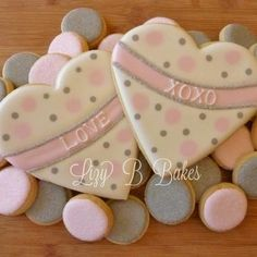 pink and gray valentine's cookies