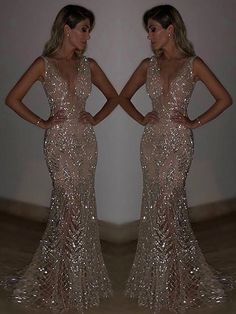 Blingbling Sequined Mermaid Evening Dress - 2020 New Prom Dresses Fashion - Fashion Of The Year Backless Prom Dresses, Grad Dresses, Ball Dresses, Homecoming Dresses, Sparkly Prom Dresses, Wedding Dresses, Split Prom Dresses, Long Fitted Prom Dresses, Beaded Prom Dress
