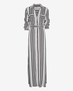 L'Agence Striped Maxi Shirtdress