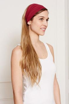 This is J   heat relief   thisisj.com   This Is J's ultra Wide Bamboo Headbands reverse from a unique print to a solid color   The bamboo fabric is ultra soft, absorbent, and wicks away moisture and is soft enough to scrunch and fold into different widths   It comes twisted in the back for a comfortable tapered fit. #heatrelief #moisturewicking #soft #headband