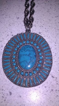 1970s Vintage Necklace Large Faux Turquoise by Jillsjewelsfl, $28.00