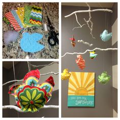 """DIY fabric bird & branch mobile for nursery ($12) Supplies: - 1/8 yard of 6 coordinating fabrics - 1 roll of fishing line or clear jewelry thread - needle - stuffing - twigs (I spray painted mine white but they are cute unpainted as well) - plant hanger hook (""""C"""" shaped) to hang it from the ceiling"""