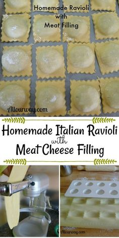 Homemade Italian Ravioli with Meat Cheese filling shows you how to make ravioli from start to finish. Easy and delicious. pasta Italian Ravioli with Meat & Cheese Filling - All Our Way Homemade Ravioli Dough, Homemade Pasta Recipes, Ravioli Dough Recipe Kitchenaid, Ravioli Pasta Recipe, Meat And Cheese Ravioli Recipe, Kitchen Aid Pasta Recipe, Cheese Ravioli Filling, Homemade Lasagna Noodles, Gluten Free Ravioli