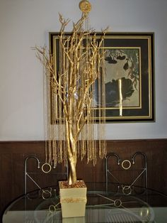 """Better photo of the """"50 years"""" Wedding Anniversary Tree that I made for our 50th Wedding Anniversary Dinner Celebration."""