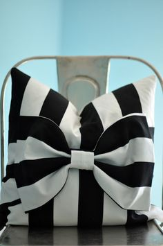 black and white striped bow pillow