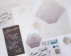 Modern acrylic grey & white invitation suite by Prim & Pixie