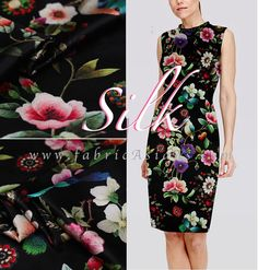 Black Floral Silk. Smooth, soft, beautiful drape, stretchy, non-sheer silk fabric. Ship Worldwide 200+ Stretch silk satin on SALE.   ▼▲ DISCOUNT ▼▲
