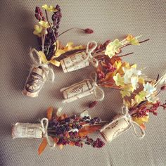 Wine Cork Boutineers for a fall wedding at a Vineyard