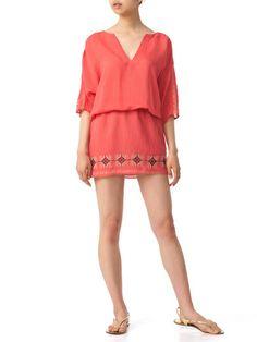 Karen Zambos - embroidery keyhole neck dolman sleeve dress