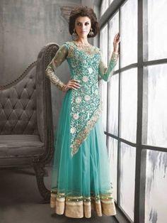 Sea Green Net Anarkali Suit With Zari Work