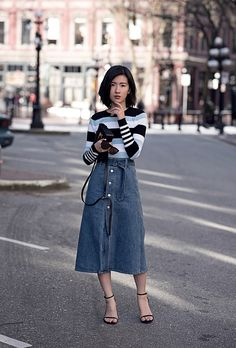 dc9cee0d7e 12 Denim Skirt Outfit Ideas to Try This Spring Long Denim Skirt Outfit, Denim  Skirt