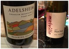 Looking for the perfect Pinot Noir?  Try these two Amusée staples:  Oregon Adelsheim Winery's 'Breaking Ground' Chehalem Mtns Pinot Noir (Soft red fruit float from the glass while notes of black tea remind you of the wine's structure and finesse.  Yum!)  & Central Coast, CA winery, Melville's Santa Rita Hills Pinot Noir (Notes of cranberry, mandarin citrus and bright strawberry/raspberry fruit for days!  A Pinot Noir so alluring that it brightens every aspect of your palate!)