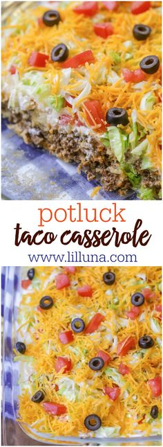 Delicious Taco Casserole that has a meat and biscuit base and is topped with sour cream, lettuce, tomatoes, cheese and olives. Recettes de cuisine Gâteaux et desserts Cuisine et boissons Cookies et biscuits Cooking recipes Dessert recipes Food dishes Casserole Taco, Casserole Dishes, Casserole Recipes, Taco Bake Recipes, Breakfast Casserole, Taco Casserole With Tortillas, Casserole Ideas, Taco Recipe, Bisquick Taco Bake Recipe