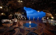 Restaurant set inside a vaulted limestone cave in Polignano, Italy open only in summer