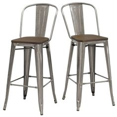 Tabouret Bistro Wood Seat Gunmetal Finish Bar Stools (Set of 2) - Free Shipping Today - Overstock.com - 16599818 - Mobile