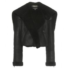 Yeezy Shearling and Leather Jacket (Season 1) (61 875 UAH) ❤ liked on Polyvore featuring outerwear, jackets, black, shearling jacket, 100 leather jacket, black jacket, adidas originals jacket ve black shearling jacket