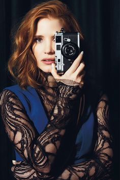Jessica Chastain and camera