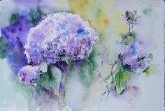 """Kunstkarte mit Umschlag – Blumenaquarell """"Hortensie in Blau"""" von Hanka Koebsch"""