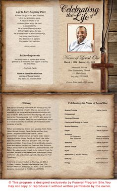 Shepherd Single Fold Funeral Program Template   Faith Based Spiritual Theme