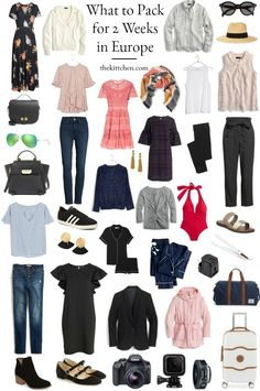 Packing for europe, packing tips for travel, budget travel, packing lists, Travel Outfit Spring, Europe Travel Outfits, Packing For Europe, Packing List For Travel, Backpacking Europe, Packing Tips, Paris Packing, Travel Wardrobe Summer, Budget Travel