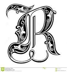 Garnished Gothic Style Font Letter R Stock Vector