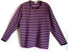 MARIMEKKO Pink & Black Striped Shirt Long Sleeve Cotton Shirt Nautical Top Clothing by Marimekko Horizontal Stripes Women's Clothing M size by Vintageby2sisters on Etsy