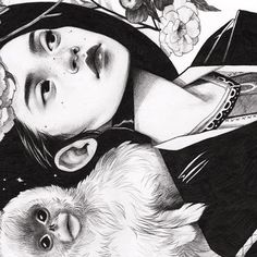 "A crop of my piece for the ""Year of the Monkey"" show tomorrow at @giantrobot the full image looks terrible with insta formatting, so here we are :) #illustration #drawing #graphite #yearofthemonkey"