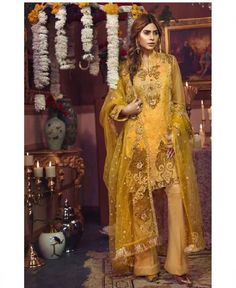 Yellow And Gold Straight Cut Pant Style Top: Poly Georgette With HandWork Inner/Bottom: Santoon Dupatta: Soft Net With Embroidery Online Shopping, Straight Cut Pants, Pakistani Suits, Lehenga Choli, Designer Wear, Fashion Pants, Designing Women, Dresses Online, Yellow