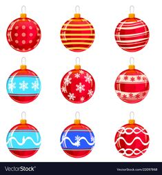 Colorfull christmas balls with ornaments vector image on VectorStock Christmas Balls, Merry Christmas, Christmas Ornaments, Christmas Decorations, Holiday Decor, Adobe Illustrator, Different Colors, Vector Free, Pdf