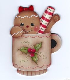 Sweet gingerbread girl in a teacup, adorable Gingerbread Ornaments, Gingerbread Decorations, Christmas Gingerbread, Noel Christmas, Christmas Images, Christmas Projects, Vintage Christmas, Christmas Decorations, Christmas Ornaments