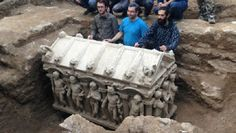 Late-Roman era sarcophagus found by Turkish farmer.  A late-Roman era sarcophagus thought to be belonging to the Late Roman Empire was unearthed and transferred to a museum after it was found by a farmer in Turkey's İznik district of Bursa last week. The sarcophagus, which has many relief figures including the ancient god of love  Eros on four sides, was found in an olive grove in Bursa's İznik district  [Credit: AA]