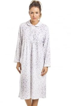 Classic White Long Sleeved Blue Floral Button Front Cotton Nightdress  Sleepwear Women 3ea5c18ee