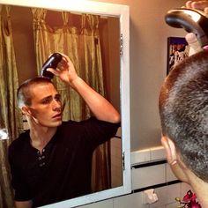 Colton Haynes shaving his head