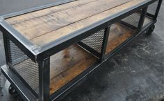 Copley Urban Industrial Coffee Table — Urban Wood & Steel LLC - Reclaimed pine, raw steel, flat expanded metal, and 3 inch locking steel casters make this coffee t -