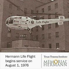 Hermann Life Flight began its service on August 1976 with one Alouette operated by Rocky Mountain Helicopters. Life Flight, Emergency Medical Technician, Critical Care, Medical Center, Ambulance, Rocky Mountains, Trauma, Ems, Nursing