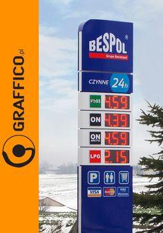 stacja paliw, gas station, filling station design, projektowanie stacji paliw, pylony cenowe, pylon signs, illuminated signage, otoki reklamowe, obudowy słupów, wyswietlacze cenowe, metamorfoza stacji paliw, producent reklam, Graffico, agencja reklamowa Toruń, stacja benzynowa, gas station signage, oil station branding