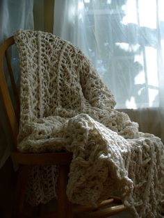 Cotton Afghan Natural  Crochet Cotton Blanket  by YarnDarlin, $285.00