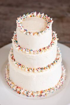 Three Tier Confetti Cake #sprinkles #celebration #birthdays #icing