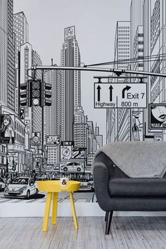Feel like you're living in a comic strip with these amazing New York city wallpaper mural. Taking you right in the middle of an illustrated New York city scene, this unique black and white mural will take centre stage of any home. It's ideal for modern li New York Wallpaper, City Wallpaper, Modern Wallpaper, Bedroom Wallpaper, Black Wallpaper, Wallpaper Ideas, Wallpaper For Living Room, Wallpaper Ceiling, Ceiling Art