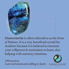 Dumortierite is known as the Stone of Patience. It is a very beneficial crystal for students because it is believed to increase your willpower and motivation to learn. #dumortierite #crystals #healing #CrystalHealing