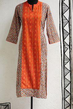 long kurta - orange ikat & yoke – maati crafts