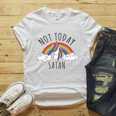 8864962d Not Today Satan, Unicorn Rainbow Shirt, LGBT Flag, Gays and Lesbians Pride,  Queer Tshirt, Funny Gay