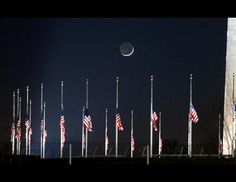 Flags at Half Staff for Sandy hook Elementary Victims  at the Washington Monument   Dec. 14th, 2012
