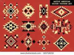 Navajo - Native American vector pattern on red board - stock vector