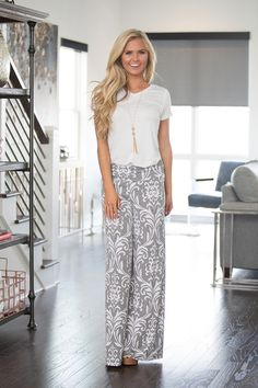 These bold damask print palazzo pants are the perfect statement piece for spring!  Lightweight and stretchy, these pants are super comfortable and easy to rock. The wide leg and relaxed fit keeps it c