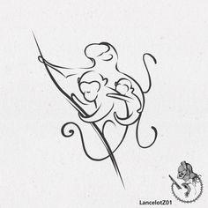 one line animal tattoos monkey Line Art Tattoos, Body Art Tattoos, New Tattoos, Sleeve Tattoos, Moños Tattoo, Lion Tattoo, Monkey Drawing, Monkey Art, Tatto Mini