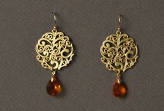 Plated Gold Filigree Pendant earring and Swarovski by UneDemiLune